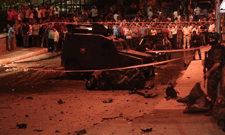 De aanslag op het politiebureau. Beeld epa