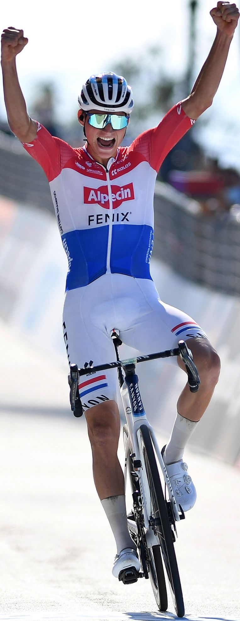 Mathieu Van Der Poel wint in september een etappe in de Tirreno-Adriatico. Beeld Getty Images
