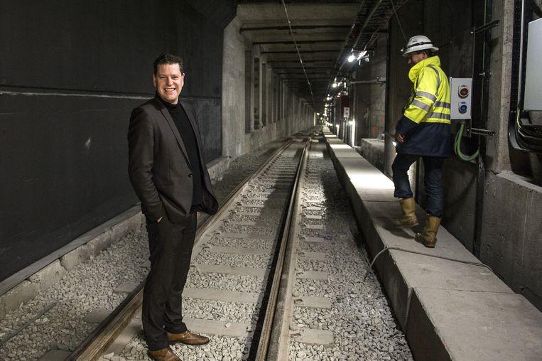 Tom Meeuws - baas van De Lijn in Antwerpen - in de Reuzenpijp, de premetrokoker die in april 2015 open gaat.