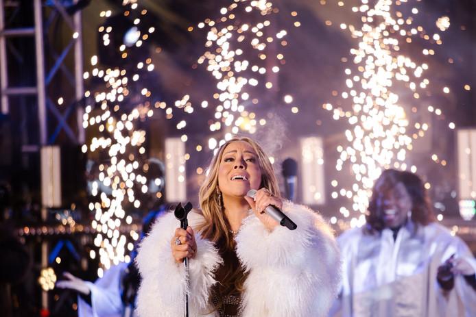 Mariah Carey op Times Square tijdens oudejaarsavond in New York.