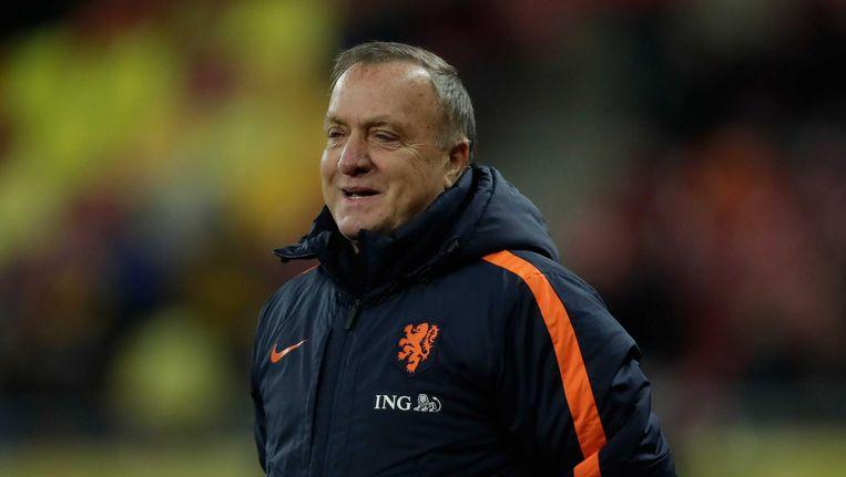 Advocaat tijdens een vriendschappelijke wedstrijd van het Nederlands elftal tegen Roemenië in Boekarest. Beeld anp