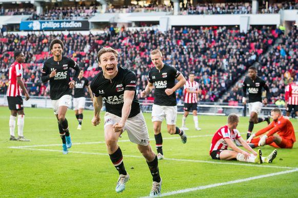Midtsjo met de 0-3 in Eindhoven.