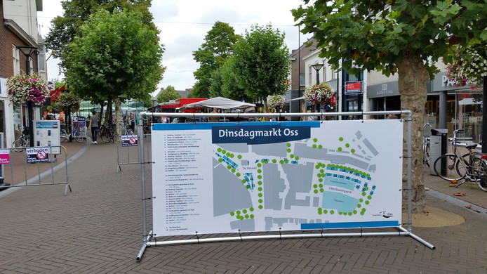 De nieuwe plattegrond van de dinsdagmarkt.