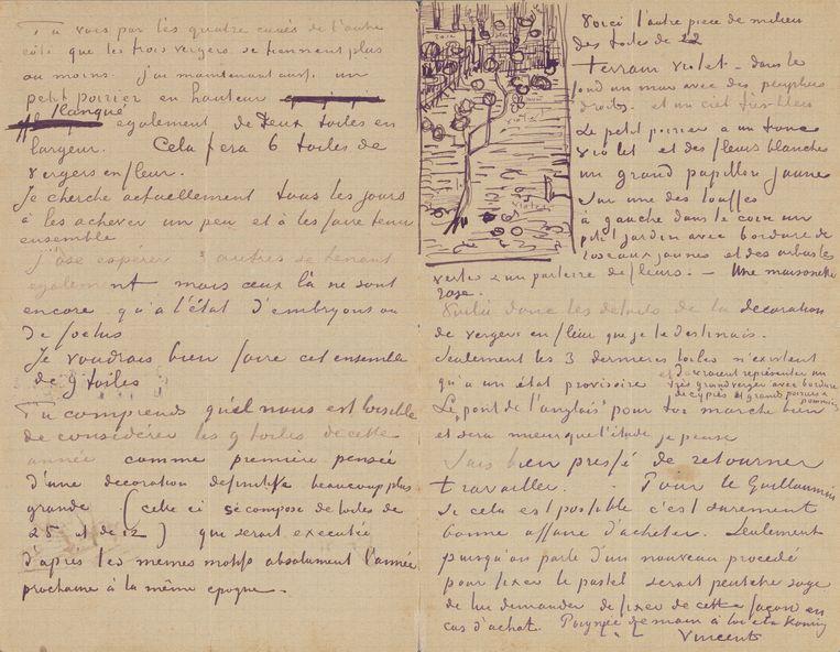 Brief van Vincent aan Theo met schets van 'Bloeiend perenboompje', Arles, circa 13 april 1888. Beeld Van Gogh Museum, Amsterdam