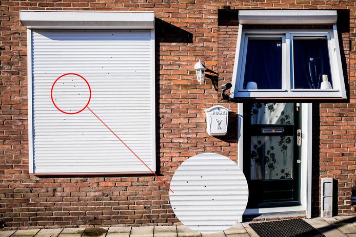 Kogelgaten in de woning aan de Beatrixstraat in Nieuwegein, februari vorig jaar.