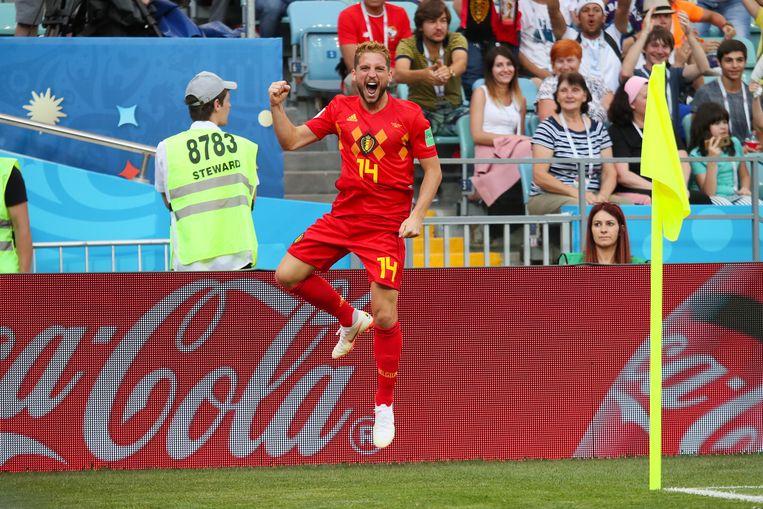 Dries Mertens heeft België tegen Panama op een 1-0-voorsprong gezet. Beeld Getty