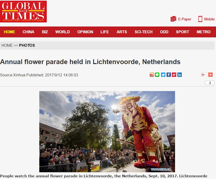 De website Global Times besteed aandacht aan het Bloemencorso van Lichtenvoorde.