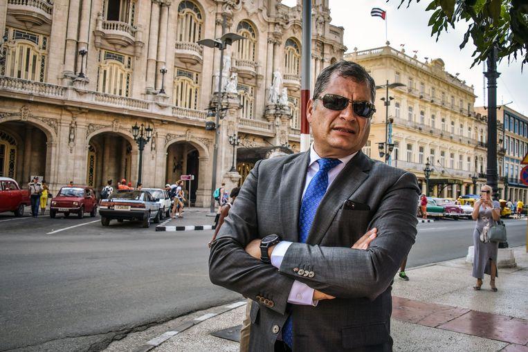 Rafael Correa in Havana, in april 2018. Beeld AFP