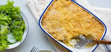Wat Eten We Vandaag: Macaronischotel met prei, jonge kaas en bloemkool