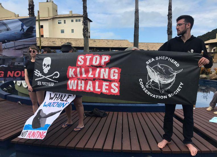 Actievoerder demonstreren bij de conferentie in Brazilië tegen de walvisjacht.