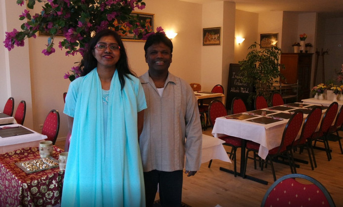Nathan Pathmanathan in zijn restaurant Athiste Mahal in Oss.