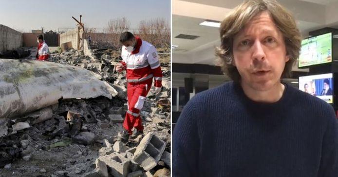 Les sauveteurs sur le site du crash, à gauche / Robin Ramaekers de VTM NIeuws