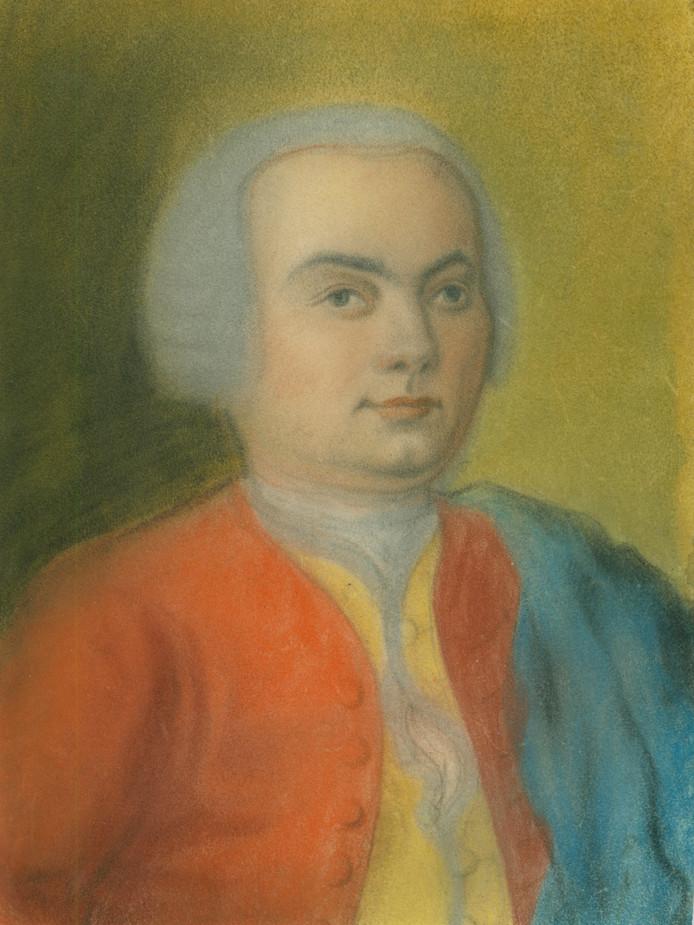 Carl Phillip Emmanuel Bach op een portret uit circa 1733