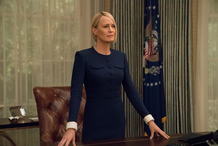 Actrice Robin Wright als Claire Underwood in House of Cards.   Beeld David Giesbrecht/Netflix