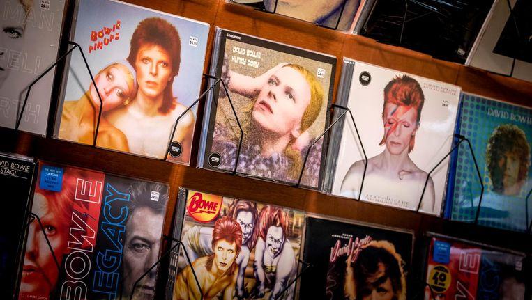 Platen van David Bowie in platenzaak Plato in Leiden in de week dat David Bowie 70 jaar zou zijn geworden. Beeld anp