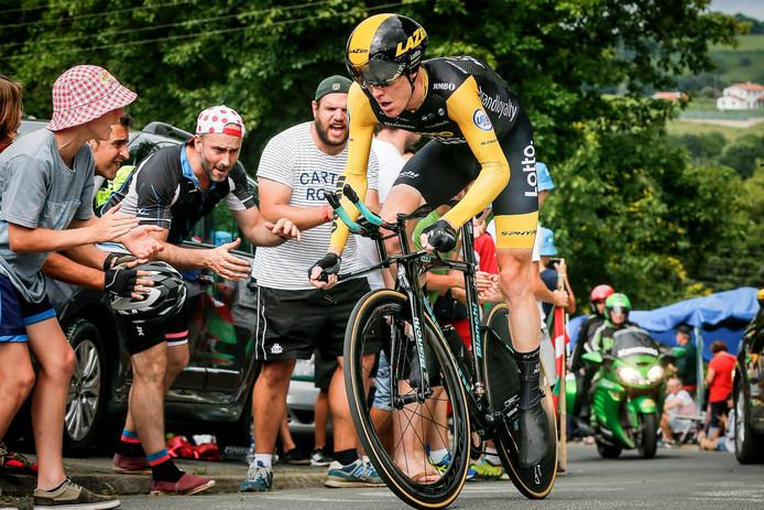 Steven Kruijswijk was in de Tour de France sneller dan onder anderen Alejandro Valverde en Nairo Quintana in de tijdrit van Saint-Pée-sur-Nivelle naar Espelette.