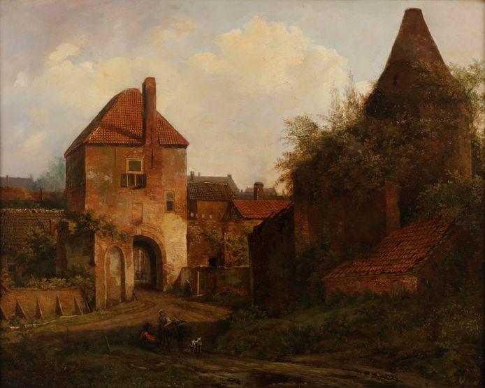Het schilderij Gezicht op de Rijnpoort te Rhenen, circa 1838. Vanaf september te zien in Stadsmuseum Rhenen.