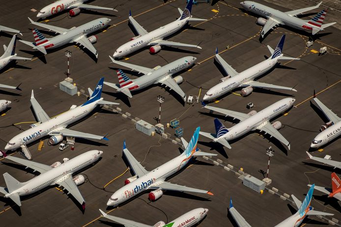 Geparkeerde toestellen van Boeing van de geplaagde Max-serie in Seattle.