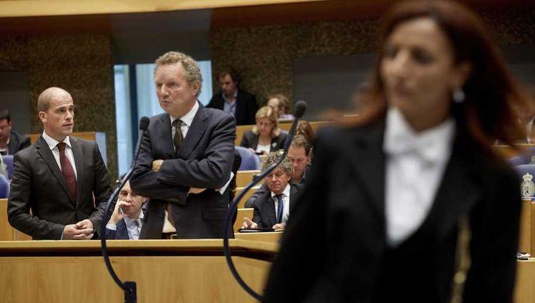 PvdA-fractievoorzitter Diederik Samsom (L) en GL-leider Bram van Ojik tijdens de Algemene Politieke Beschouwingen. Beeld anp