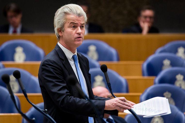Geert Wilders tijdens een Tweede Kamerdebat over de instroom van asielzoekers. Beeld anp
