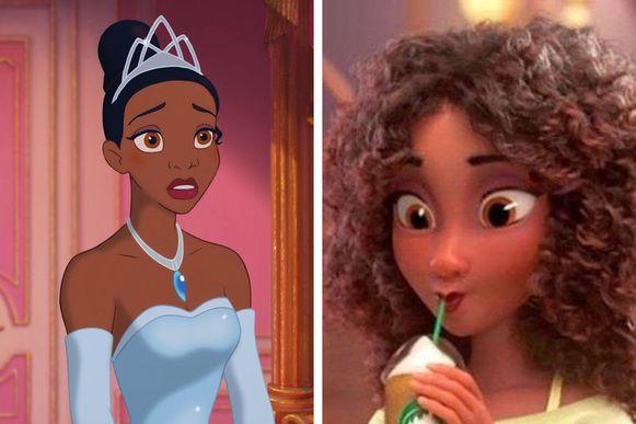 Tiana maakte haar opwachting in 2009 (links), maar zag er in de trailer van de nieuwe film helemaal anders uit.