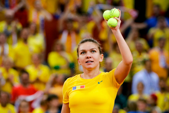 Simona Halep namens Roemenië op de Fed Cup.
