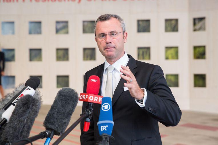 De Oostenrijkse Transportminister Nobert Hofer (FPÖ) .