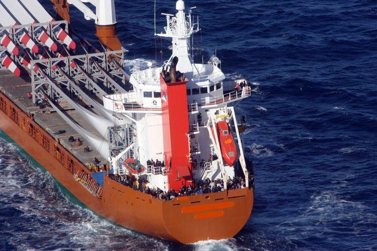Het Nederlandse vrachtschip Erasmusgracht, dat in 2014 bij Italië ruim 300 bootvluchtelingen uit Syrië oppikte.  Beeld ANP