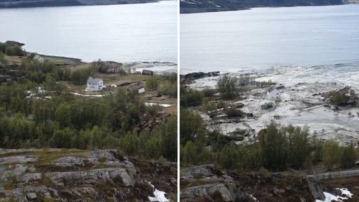 Indrukwekkend: Aardverschuiving sleurt huizen zee in