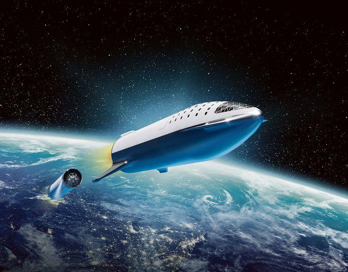 Het Starship dat Elon Musk een jaar geleden deelde.