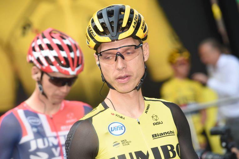 Tony Martin (voor) en Luke Rowe zijn uit de Tour de France gezet. Beeld BSR Agency