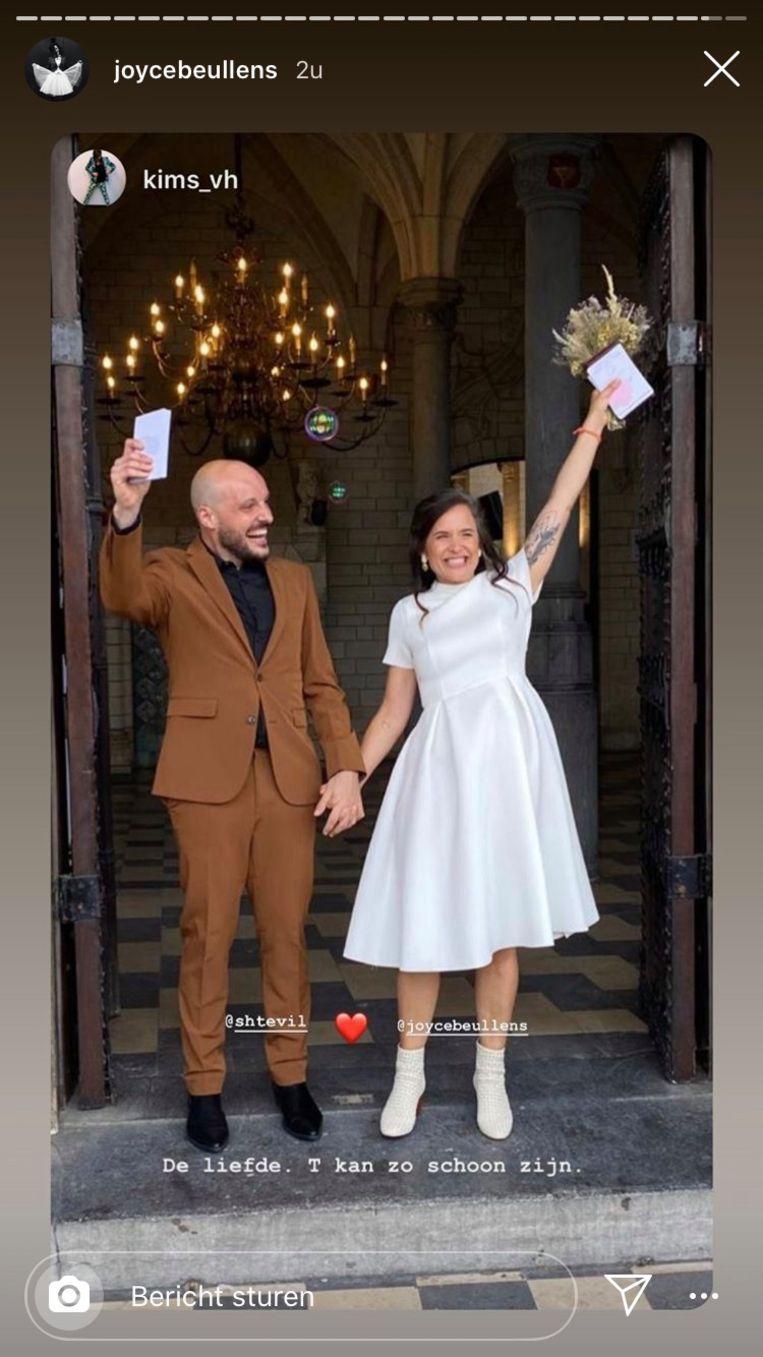 Joyce Beullens deelde enkele foto's van haar huwelijk in haar Instagram Stories.