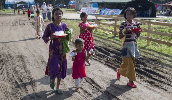 Rohingya-kinderen in een vluchtelingenkamp op het Indonesische eiland Sumatra.
