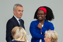 Sibeth Ndiaye avec François de Rugy au défilé du 14 juillet.