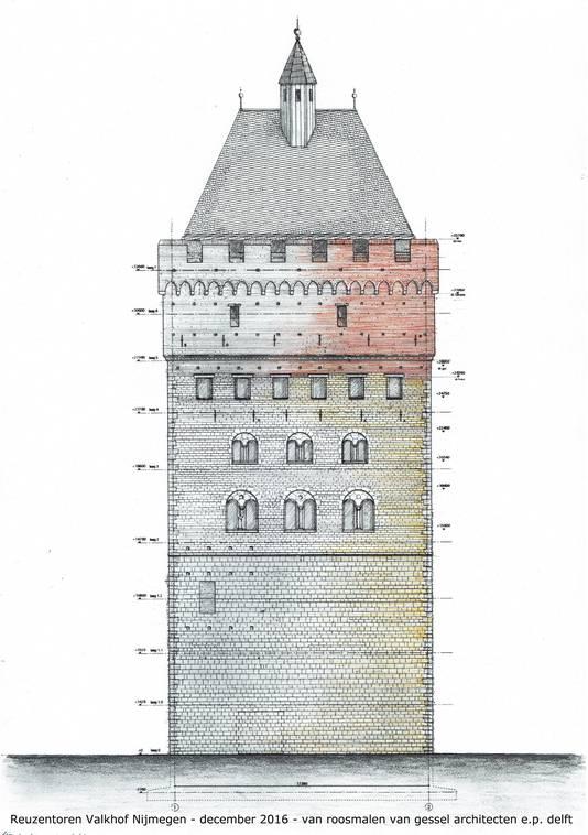 Illustratie van de te bouwen Donjon in Nijmegen