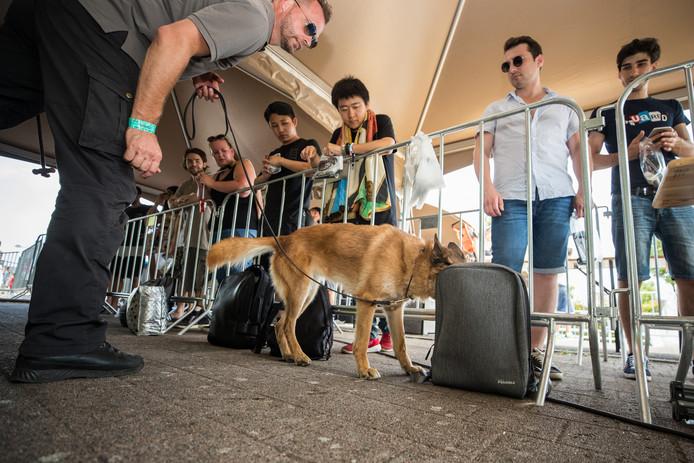 Drugshonden controleren festivalbezoekers in België.