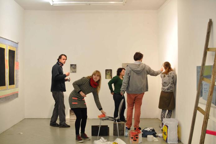 Opbouw van de expositie in Künstlerhaus Frise in Hamburg