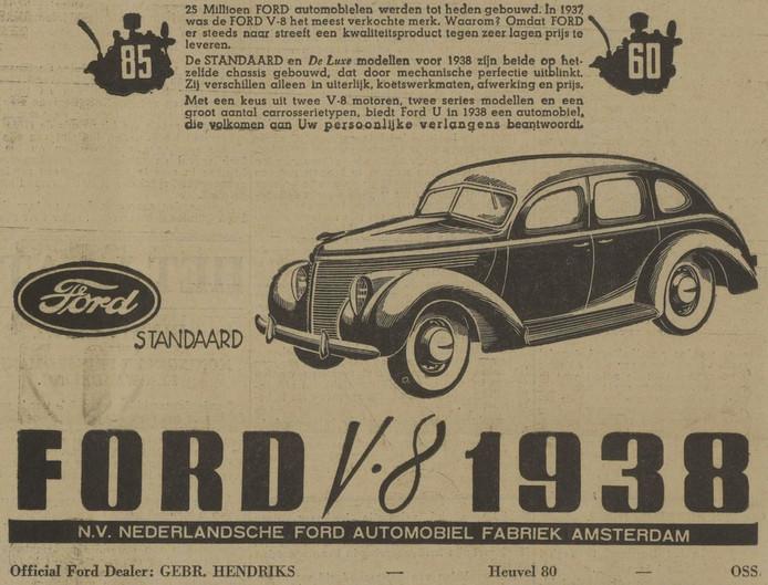 Advertentie uit 1938 van Forddealer Gebrs. Hendriks voor de nieuwe Ford V8, die zij in 1943 uit handen van de Duitsers wilden houden.