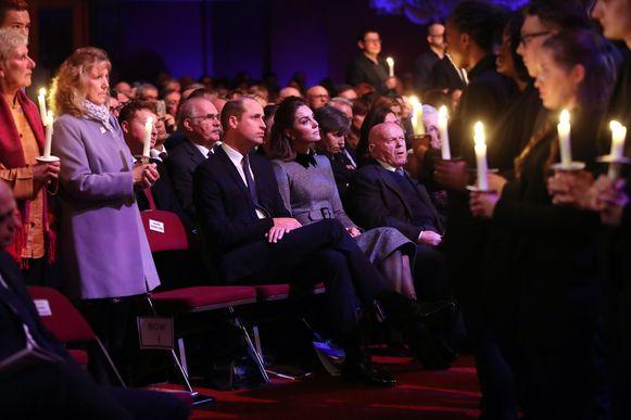William en Kate tijdens de Holocaust-herdenking in Westminster.