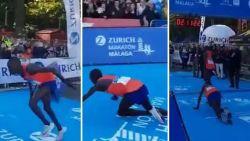 Loper heeft na 42 kilometer afzien zilveren medaille in het vizier, tot de laatste meters hem ongenadig hard fataal worden