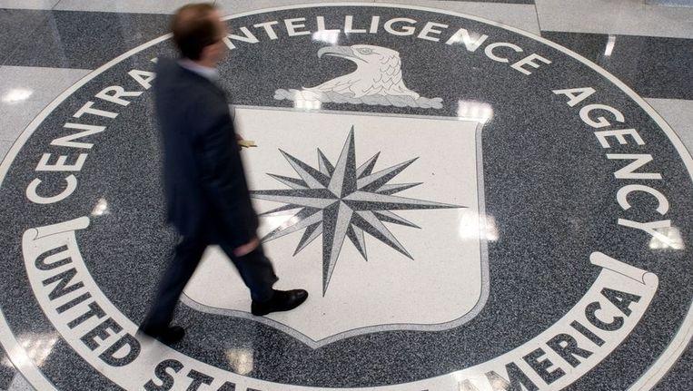 Het teken van de CIA op de vloer van het hoofdkwartier in Langley Beeld anp