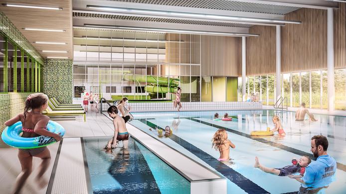 Voorlopig ontwerp (2018) van het nieuwe zwembad in Tiel
