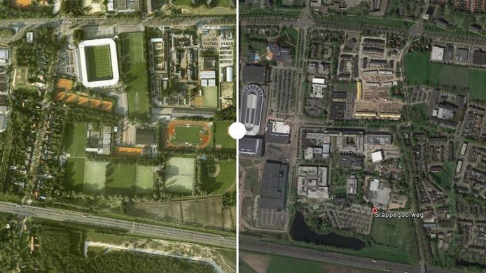 Satellietfoto van Stappegoor in Tilburg.