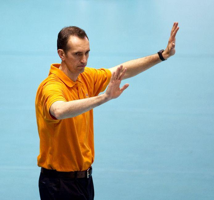 Blangé in 2010 als bondscoach van de volleybalmannen.