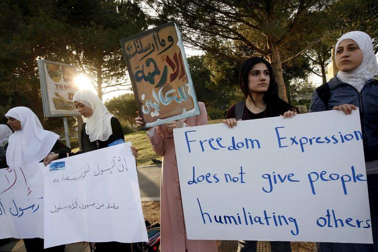 Studenten demonstreren bij de Hebreeuwse Universiteit in Jeruzalem in 2009, tijdens een lezing van Rose. Beeld anp