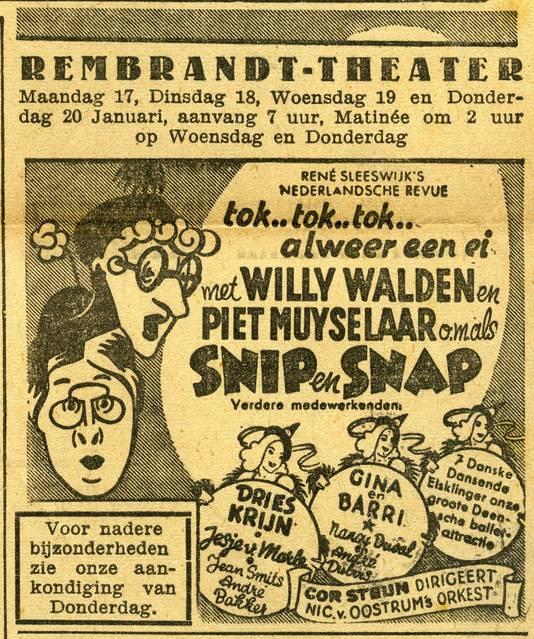 Ook het komische duo Snip en Snap trad tijdens de oorlog op in Eindhoven, in het Rembrand Theater aan de Vrijstraat.