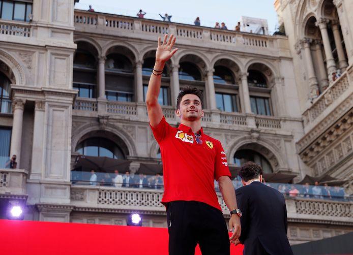 Charles Leclerc tijdens het Ferrari-event.