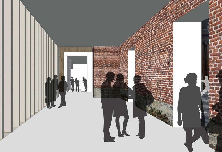 Links van de ingang van de kerk wordt een foyer voorzien.