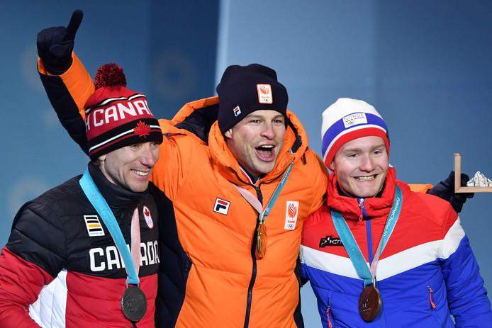 Vlnr: Ted-Jan Bloemen, Sven Kramer en Sverre Lunde Pedersen.
