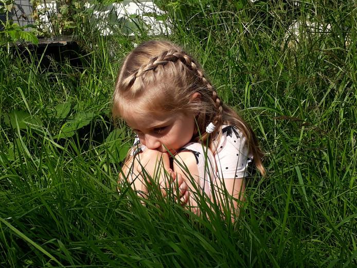 Ik zie, ik zie, wat jij niet ziet! Het gras hier in Maarssen is zo hoog dat dit meisje zich er makkelijk in kan verstoppen.